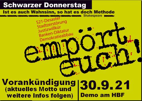 Vorabinfo fuer den Schwarzen Donnerstag 2021