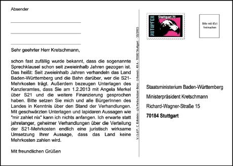 Kretschmann stop secret - Postkarte hinten