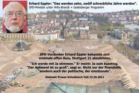 Fotomontage Baustelle statt Park - Mit Zitat von Erhard Eppler